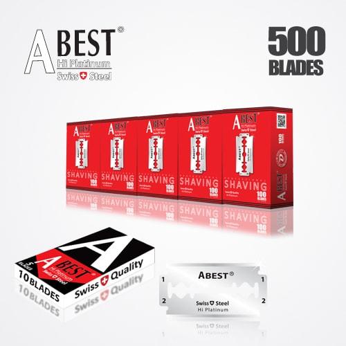 ABEST HI PLATINUM DOUBLE EDGE DURABLADE SWISS QUALITY RAZOR BLADES T10-B100 P500 PCS 1