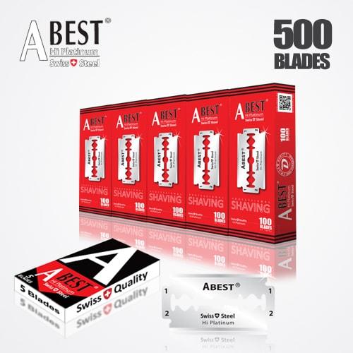 ABEST HI PLATINUM DOUBLE EDGE BLADES DURABLADE SWISS QUALITY RAZOR BLADES T5 B100 P500 PCS 1