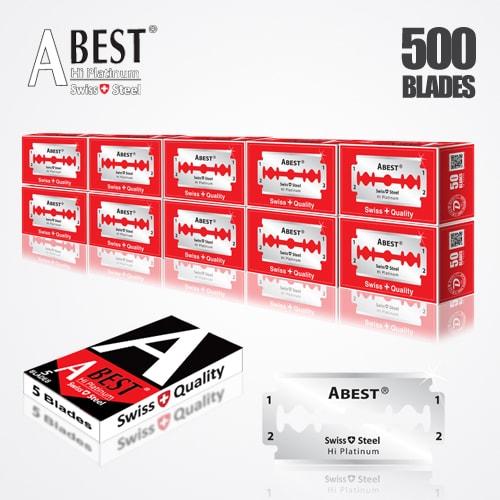 ABEST HI PLATINUM DOUBLE EDGE BLADES DURABLADE SWISS QUALITY RAZOR BLADES T5 B50 P500 PCS 1