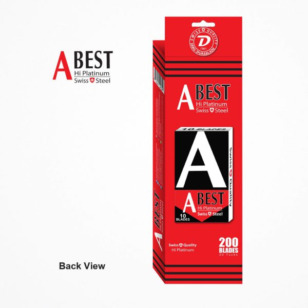 ABEST HI PLATINUM SWISS QUALITY DOUBLE EDGE SAFETY RAZOR BLADES (Red & Black) 200 BLADES 6