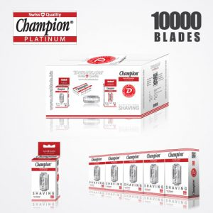 DURABLADE SWISS QUALITY CHAMPION PLATINUM DOUBLE EDGE RAZOR BLADES T10-B100-P10000 PCS
