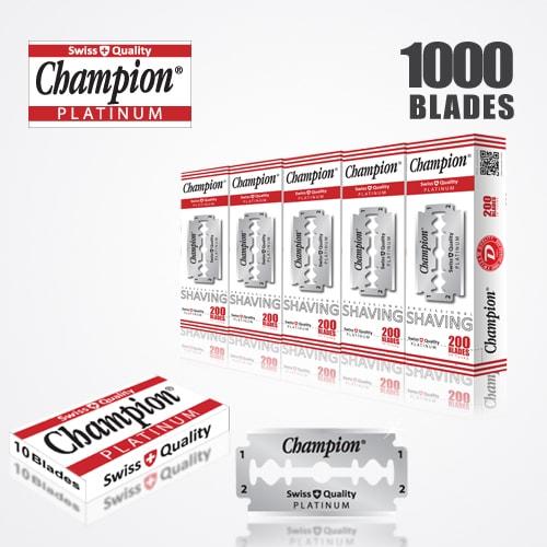 DURABLADE SWISS QUALITY CHAMPION PLATINUM DOUBLE EDGE RAZOR BLADES T10-B200-P1000 PCS 1