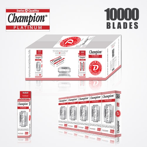 DURABLADE SWISS QUALITY CHAMPION PLATINUM DOUBLE EDGE RAZOR BLADES T10-B200-P10000 PCS 1
