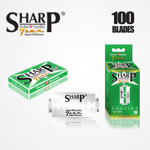 SHARP 7AM SUPER PLATINUM DOUBLE EDGE DURABLADE SWISS QUALITY RAZOR BLADES – T10 B100 PCS 1