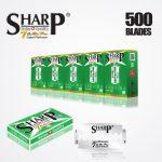 SHARP 7AM SUPER PLATINUM DOUBLE EDGE DURABLADE SWISS QUALITY RAZOR BLADES T10 B100 P500 PCS 1