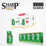 SHARP 7AM SUPER PLATINUM DOUBLE EDGE DURABLADE SWISS QUALITY RAZOR BLADES T10 B100 P10,000 PCS 1