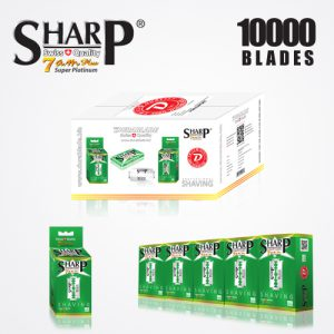 SHARP 7AM SUPER PLATINUM DOUBLE EDGE DURABLADE SWISS QUALITY RAZOR BLADES T10 B100 P10,000 PCS