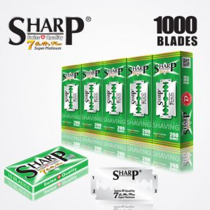 SHARP 7AM SUPER PLATINUM DOUBLE EDGE DURABLADE SWISS QUALITY RAZOR BLADES T10 B200 P1,000 PCS