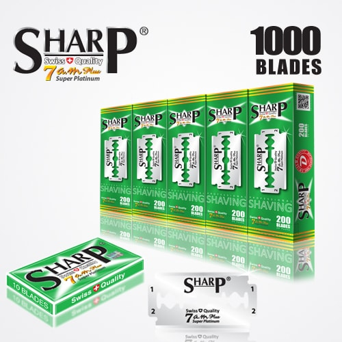 SHARP 7AM SUPER PLATINUM DOUBLE EDGE DURABLADE SWISS QUALITY RAZOR BLADES T10 B200 P1,000 PCS 1