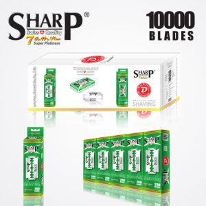 SHARP 7AM SUPER PLATINUM DOUBLE EDGE DURABLADE SWISS QUALITY RAZOR BLADES T10 B200 P10,000 PCS