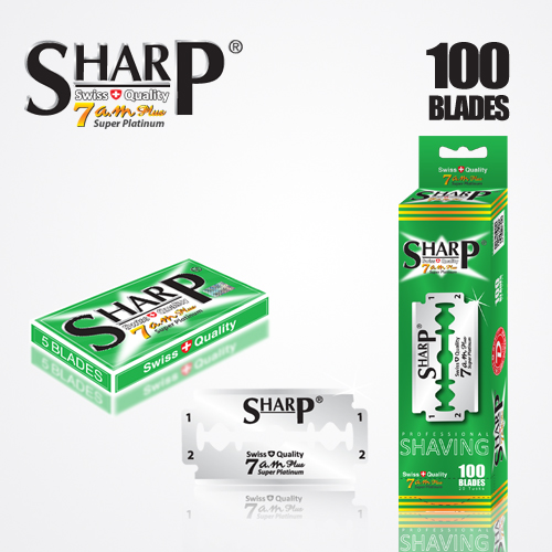 SHARP 7AM SUPER PLATINUM DOUBLE EDGE DURABLADE SWISS QUALITY RAZOR BLADES T5 100 PCS 1
