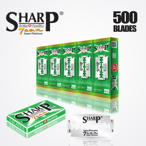 SHARP 7AM SUPER PLATINUM DOUBLE EDGE DURABLADE SWISS QUALITY RAZOR BLADES T5 B100 P500 PCS 1