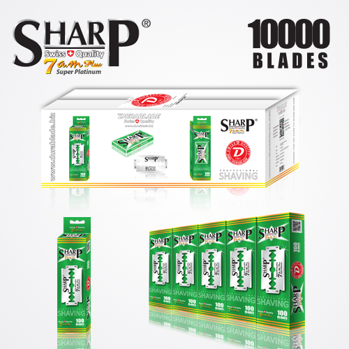 SHARP 7AM SUPER PLATINUM DOUBLE EDGE DURABLADE SWISS QUALITY RAZOR BLADES T5 B100 P10,000 PCS 1
