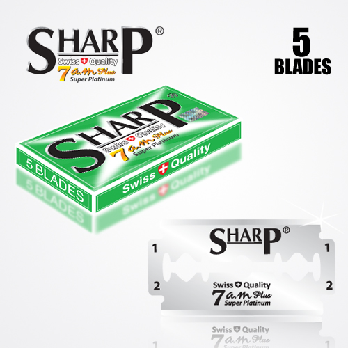SHARP 7AM SUPER PLATINUM DOUBLE EDGE DURABLADE SWISS QUALITY RAZOR BLADES T5 B100 P500 PCS 4