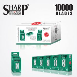 SHARP HI CHROMIUM DOUBLE EDGE DURABLADE SWISS QUALITY RAZOR BLADES T10 B100 P10,000 PCS