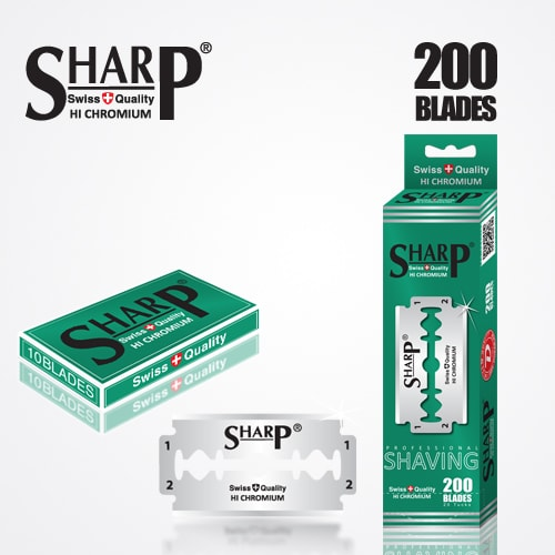 SHARP HI CHROMIUM DOUBLE EDGE DURABLADE SWISS QUALITY RAZOR BLADES T10 B200 PCS 1